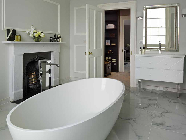 Myddleton - spacious bathrooms with fireplace