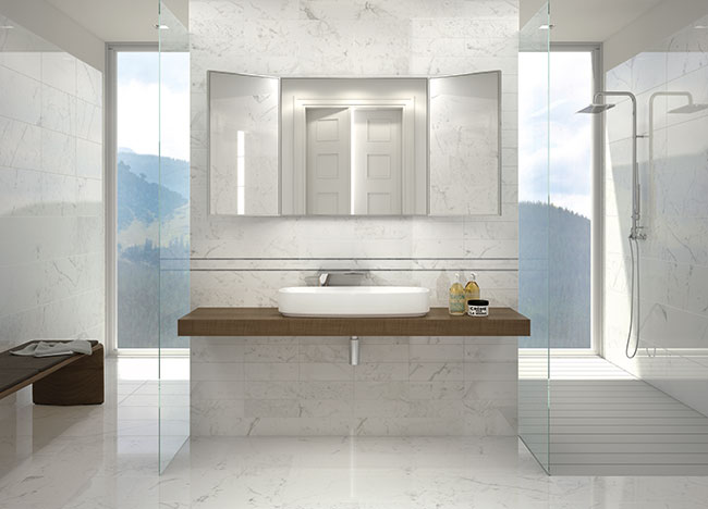 palladio tiles used in a contemporary style bathroom - Bathroom Tiles Eltham