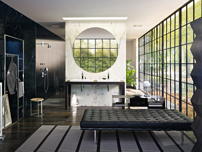 Spacious bathroom with seating area