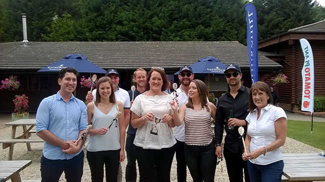 The contract's clients completing the clay pigeon shooting