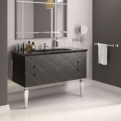 Artelinea d cor bathroom furniture from c p hart for Black glass bathroom accessories
