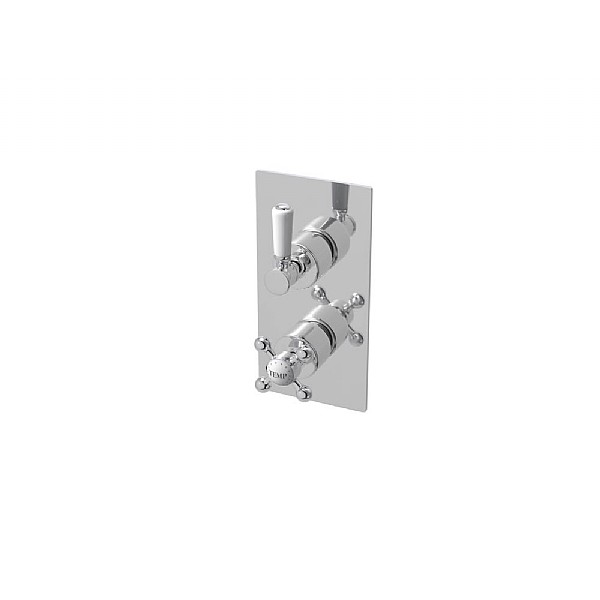Waterloo Rectangular Dual Control Shower Valve With Diverter (Two Outlets)