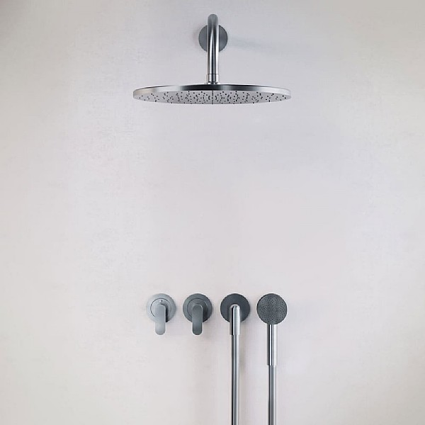 John Pawson Set 22 Thermostatic Complete Rain Shower Set With Round Hand Shower