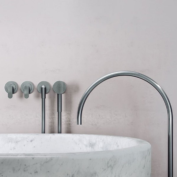 John Pawson Set 25 Thermostatic Complete Bath Set With Round Hand Shower