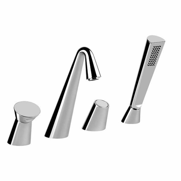 gessi cono 4 piece bath shower mixer with diverter bath taps cp hart. Black Bedroom Furniture Sets. Home Design Ideas