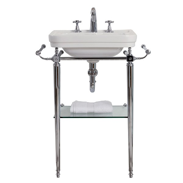 London Basin Stand With Rails & Glass Shelf For 515mm Handbasin
