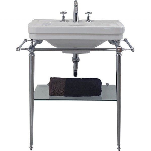 London Basin Stand With Rails & Glass Shelf For 700mm Washbasin