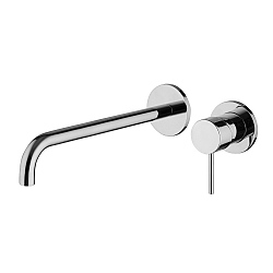 Spillo Wall Mounted Single Lever Basin Mixer (252mm Spout) with Click Waste