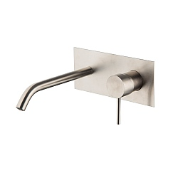 Spillo Steel Wall Mounted Single Lever Basin Mixer with Backplate (202mm Spout) and Click Waste