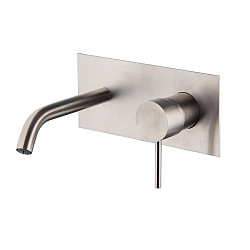 Spillo Steel Wall Mounted Single Lever Basin Mixer with Backplate (152mm Spout) and Click Waste