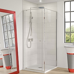 Cube Pivot Corner Shower Door with Side Panel