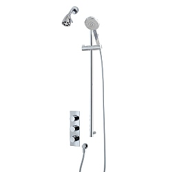 Ocean Triple Control Shower Valve & Six Prong Shower Head with Flexible Kit