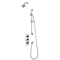 Waterloo Shower Set (Triple Valve, Flexible Kit & Six Prong Head)