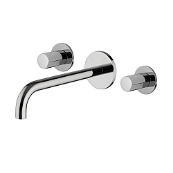 SO Wall-Mounted Three Hole Basin Mixer (192-207mm Spout) with Click Waste
