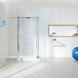 Matki Walk-In Square Corner Shower Enclosure & White Tray