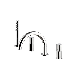 Spillo Tech V Four Hole Bath Mixer with 232mm Spout & Handshower