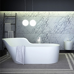 K-Stone Glow Asymmetric Left Freestanding Bath