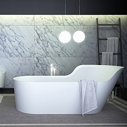 K-Stone Glow Asymmetric Right Freestanding Bath