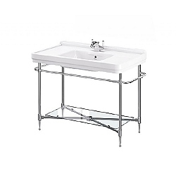 London Console Basin Stand With Rails & Glass Shelf