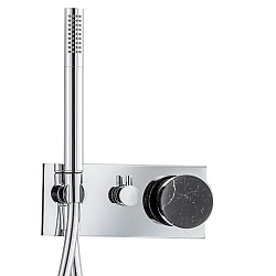 Marmo Manual Shower Valve 3-Way With Handshower Black